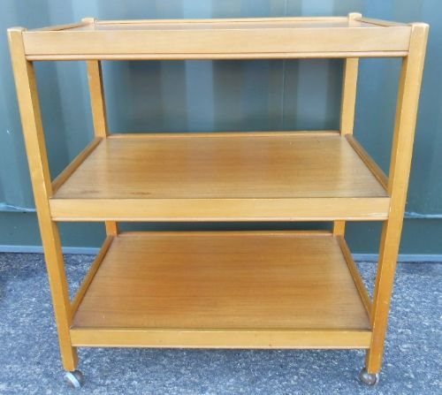 Teak Three Tier Tea Trolley